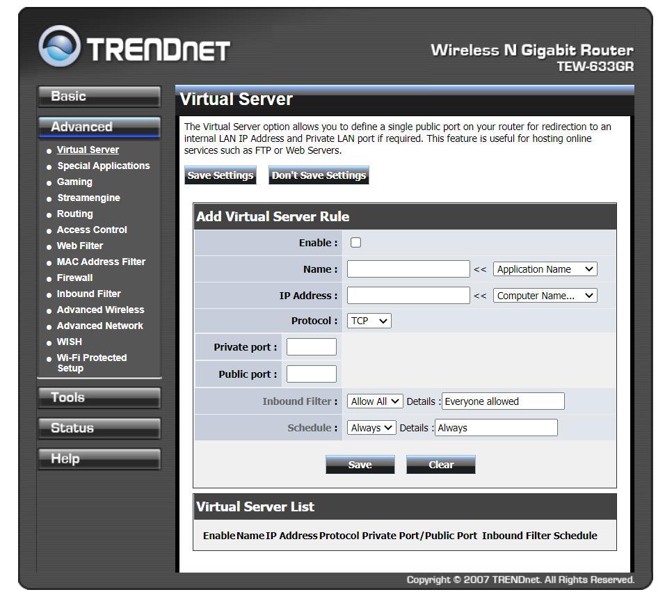 configurar trendnet puertos